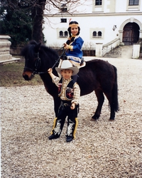 "Another carnival party, this time as a cowboy (my brother Johannes) and an Indian (Vici) with an ""Indian pony"", Topy"